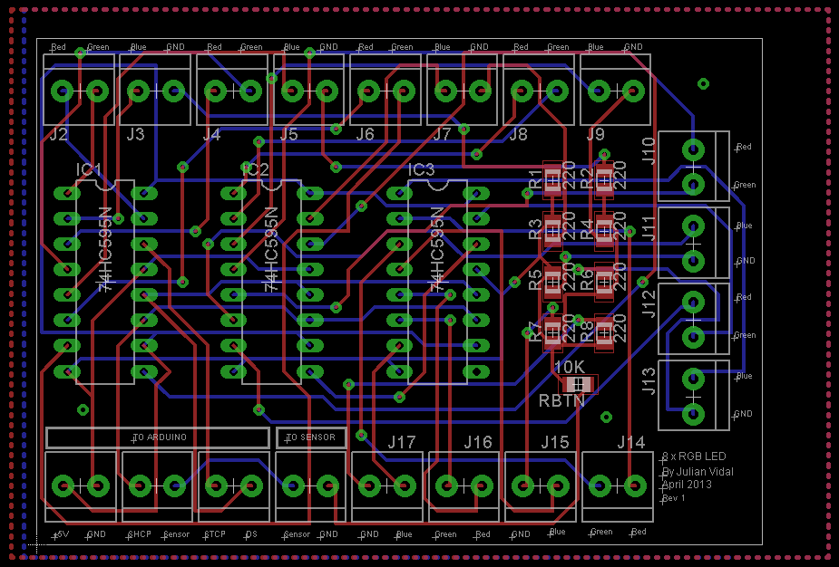 8 RGB LED Controller EAGLE PCB